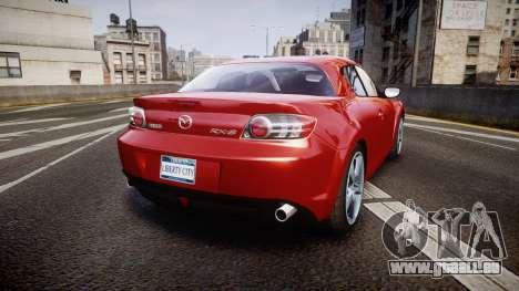 Mazda RX-8 2006 v3.2 Advan tires pour GTA 4 Vue arrière de la gauche