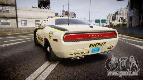 Dodge Challenger MCSO [ELS] pour GTA 4 Vue arrière de la gauche