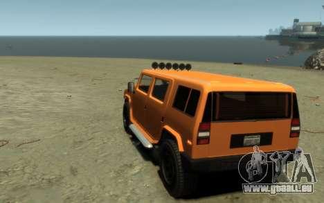 Mammoth Patriot Pickup pour GTA 4 Vue arrière