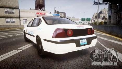 Chevrolet Impala Metropolitan Police [ELS] Traf pour GTA 4 Vue arrière de la gauche