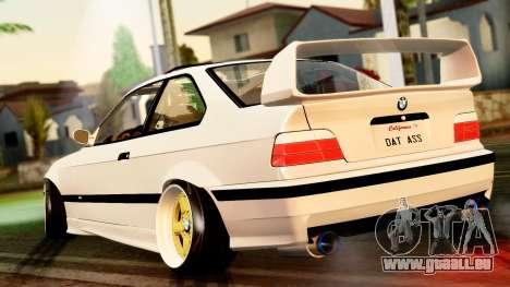 BMW M3 E36 Stance pour GTA San Andreas sur la vue arrière gauche