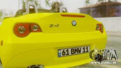 BMW Z4 Construction Ens pour GTA San Andreas vue arrière