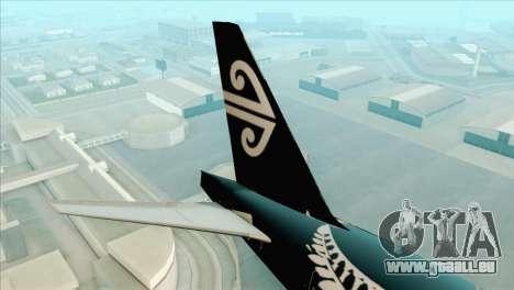 B777-200ER Air New Zealand Black Tail Livery für GTA San Andreas zurück linke Ansicht