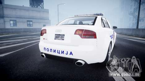 Audi RS4 Serbian Police [ELS] pour GTA 4 Vue arrière de la gauche