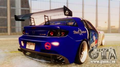 Mazda RX-8 Tuned Black Rock Shooter Itasha pour GTA San Andreas sur la vue arrière gauche
