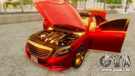 Mercedes-Benz S63 W222 AMG pour GTA San Andreas vue arrière