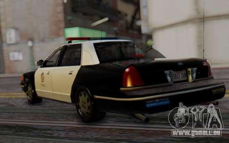 Ford Crown Victoria LSPD pour GTA San Andreas laissé vue