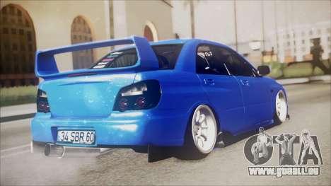 Subaru Impreza WRX STI de la B. O. de la Constru pour GTA San Andreas laissé vue