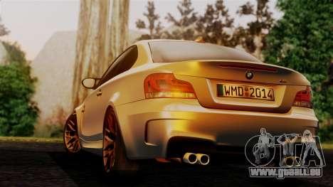 BMW 1M E82 v2 pour GTA San Andreas laissé vue