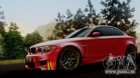 BMW 1M E82 v2 pour GTA San Andreas sur la vue arrière gauche