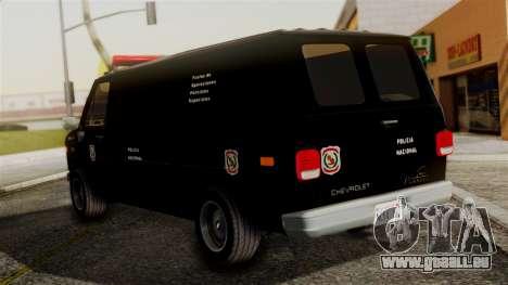 Chevrolet Chevy Van G20 Paraguay Police pour GTA San Andreas laissé vue