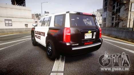 Chevrolet Tahoe 2015 Elizabeth Police [ELS] pour GTA 4 Vue arrière de la gauche