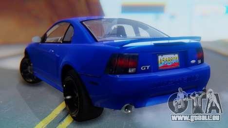 Ford Mustang 1999 Clean pour GTA San Andreas laissé vue
