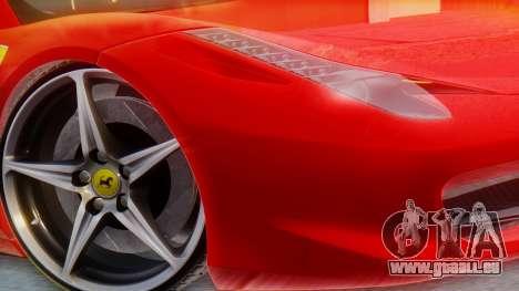 Ferrari 458 Italia für GTA San Andreas zurück linke Ansicht