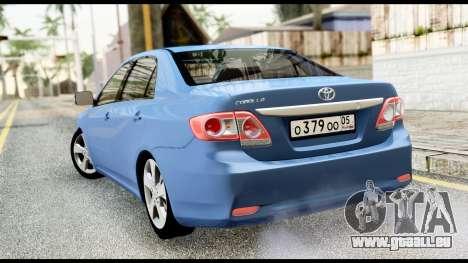 Toyota Corolla 2012 pour GTA San Andreas laissé vue