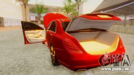 Mercedes-Benz S63 W222 AMG pour GTA San Andreas vue intérieure