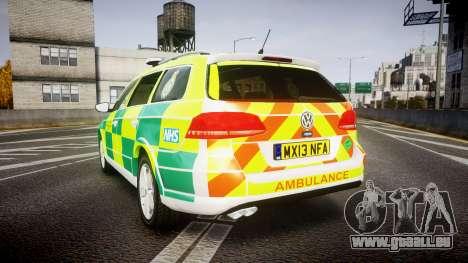 Volkswagen Passat B7 North West Ambulance [ELS] für GTA 4 hinten links Ansicht