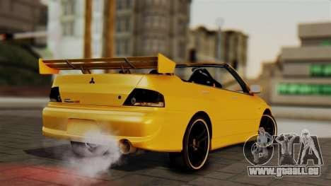 Mitsubishi Lancer Evolution 2015 pour GTA San Andreas laissé vue