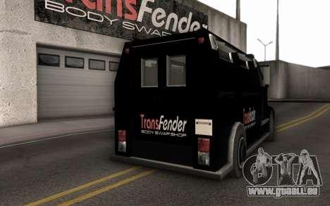 Machine de livraison des pièces tuning pour GTA San Andreas vue de droite