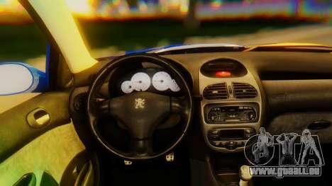 Peugeot 206 Full Tuning für GTA San Andreas rechten Ansicht