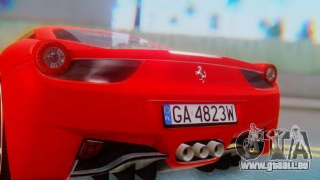 Ferrari 458 Italia pour GTA San Andreas vue intérieure