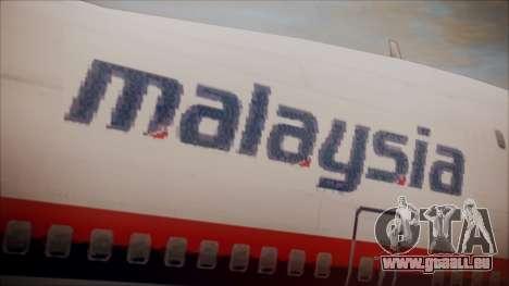 Boeing 747-200 Malaysia Airlines für GTA San Andreas Rückansicht