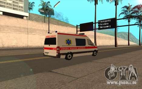 Mercedes-Benz Sprinter Krankenwagen Ukraine für GTA San Andreas zurück linke Ansicht