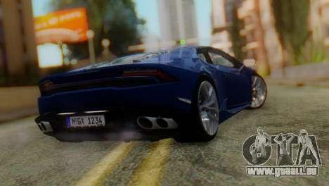 Lamborghini Huracan 2015 pour GTA San Andreas laissé vue