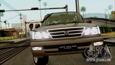 Toyota Land Cruiser Cygnus pour GTA San Andreas vue arrière
