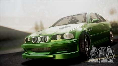 BMW M3 GTR Street Edition pour GTA San Andreas vue de dessus