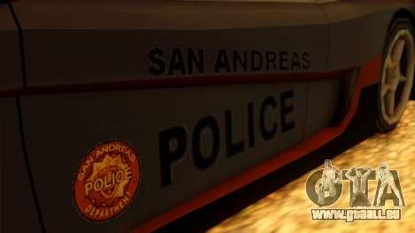 Police Turismo pour GTA San Andreas sur la vue arrière gauche