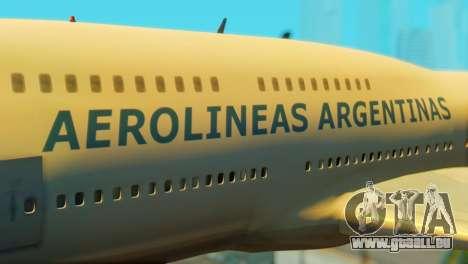 Boeing 747 Argentina Airlines pour GTA San Andreas vue arrière