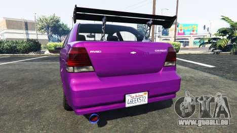 GTA 5 Declasse Asea Chevrolet Aveo arrière vue latérale gauche