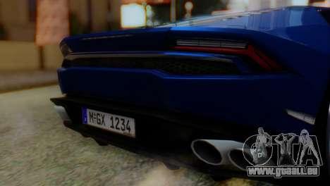 Lamborghini Huracan 2015 pour GTA San Andreas vue arrière