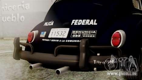 Volkswagen Beetle 1963 Policia Federal pour GTA San Andreas vue intérieure
