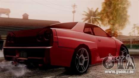Nissan Skyline R34 SA Style pour GTA San Andreas sur la vue arrière gauche