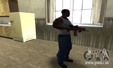 M4 Rouge Camo pour GTA San Andreas troisième écran