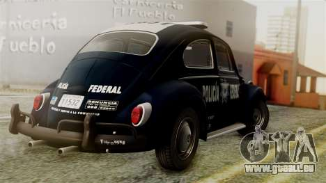 Volkswagen Beetle 1963 Policia Federal pour GTA San Andreas laissé vue