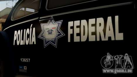 Volkswagen Beetle 1963 Policia Federal pour GTA San Andreas vue de droite