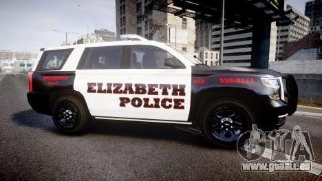 Chevrolet Tahoe 2015 Elizabeth Police [ELS] für GTA 4 linke Ansicht