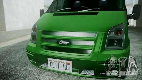 Ford Transit SSV 2011 für GTA San Andreas Rückansicht