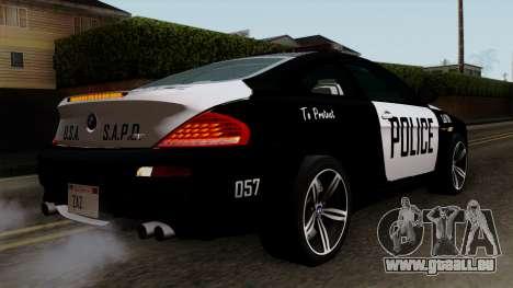 BMW M6 E63 Police Edition für GTA San Andreas linke Ansicht