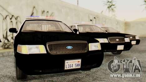 Ford Crown Victoria 2009 LAPD für GTA San Andreas zurück linke Ansicht