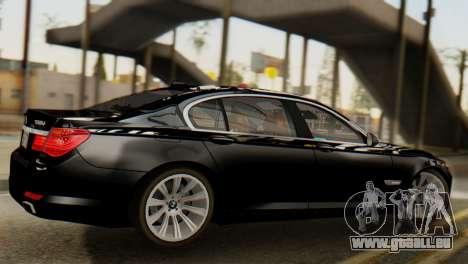 BMW 750Li 2012 pour GTA San Andreas sur la vue arrière gauche