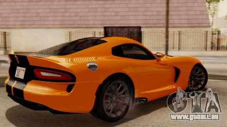 Dodge Viper SRT GTS 2013 IVF (HQ PJ) No Dirt pour GTA San Andreas sur la vue arrière gauche