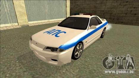 Nissan Skyline R32 Russian Police pour GTA San Andreas sur la vue arrière gauche