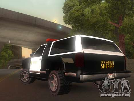 Yosemite Police 2015 pour GTA San Andreas sur la vue arrière gauche