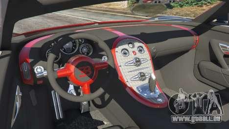 GTA 5 Bugatti Veyron Grand Sport v3.3 arrière droit vue de côté