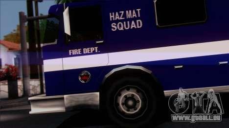 FDSA Hazardous Materials Squad Truck pour GTA San Andreas sur la vue arrière gauche