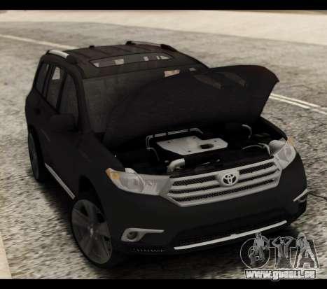 Toyota Highlander 2011 für GTA San Andreas obere Ansicht